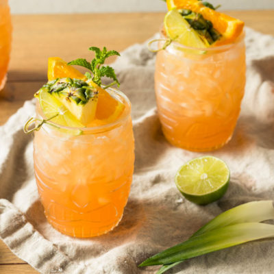 Cocktail with pineapple and orange juice