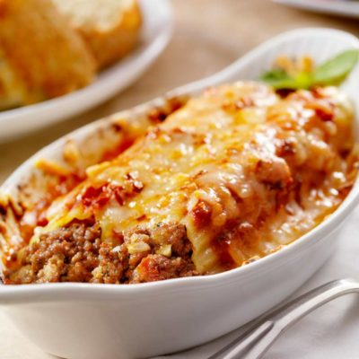 Manicotti Pasta with spaghetti sauce and cheese