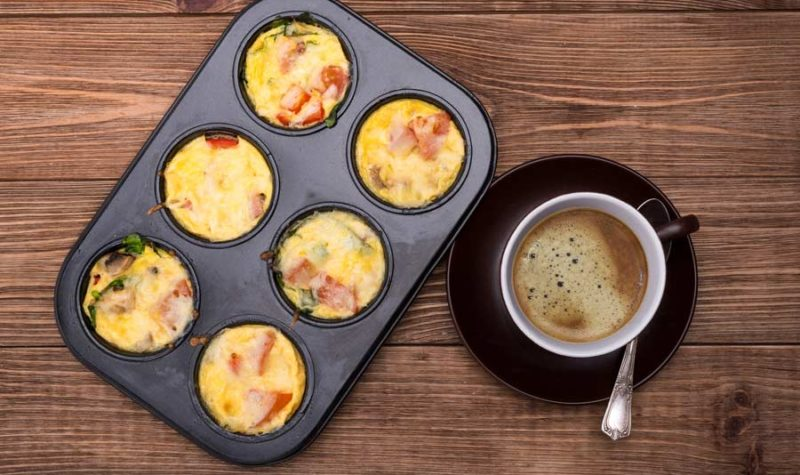 Omelet Biscuit cups with cup of coffee