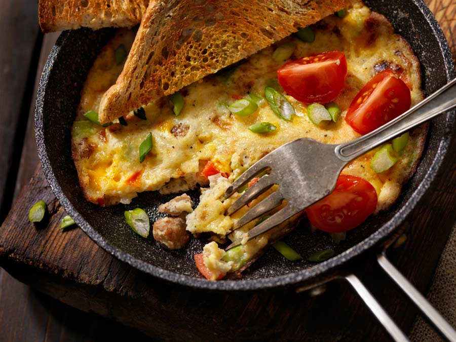 Sausage and Kale Frittata in cast iron pan