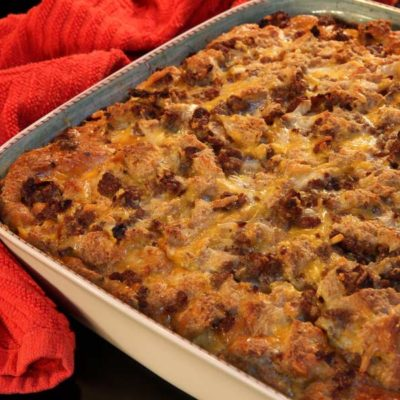 Southwestern egg souffle in baking dish, hot from the oven