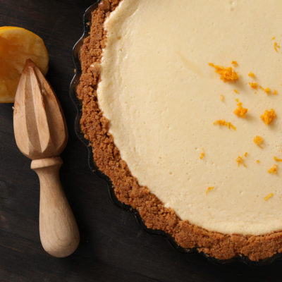 Lemon Pie with grahame craker crust in round pan