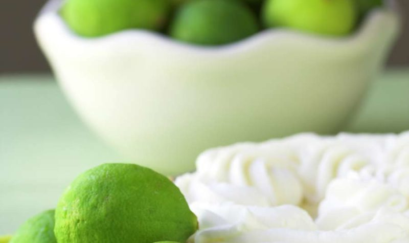 Lime Ice Cream pie with limes