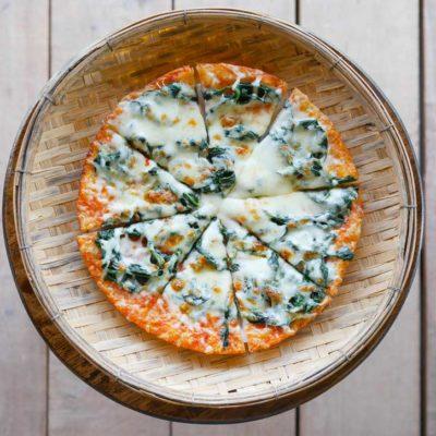 Overhead shot of pizza