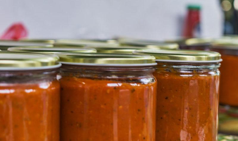 Jars of spaghetti sauce.