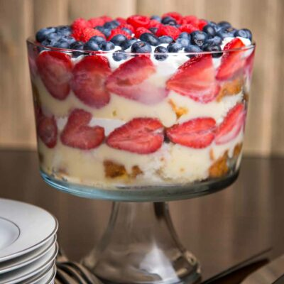 Berry Trifle in a clear trifle dish.
