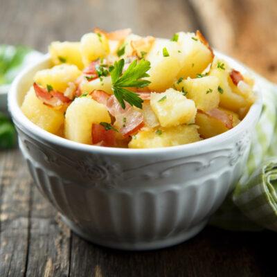 German Potato Salad in a white bowl