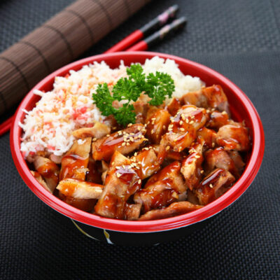 Japanese chicken with white rice.