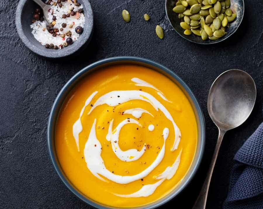 A bowl of autumn squash soup